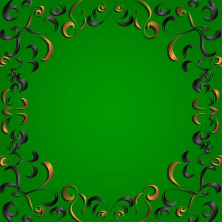 scroll tracery: Tamplate frame desing with gold and black elements Illustration