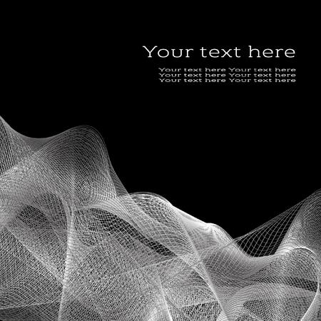 white wave: Vector abstract background for flyer, blank, card, banner, invitation, brochure cover design template. White wave design element with space for your text on black. Illustration