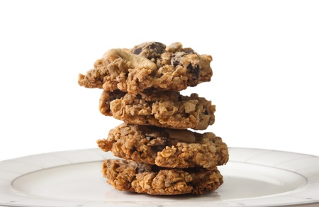 Healthy Oatmeal Chocolate Chip Cookies on White Background  photo