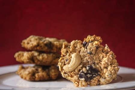 Homemade Oatmeal cookies with Chocolate and Cashew Nut
