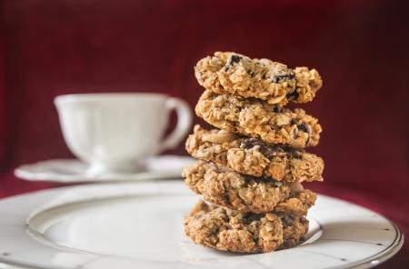 Homemade Oatmeal Chocolate Chip Cookies  Stock Photo