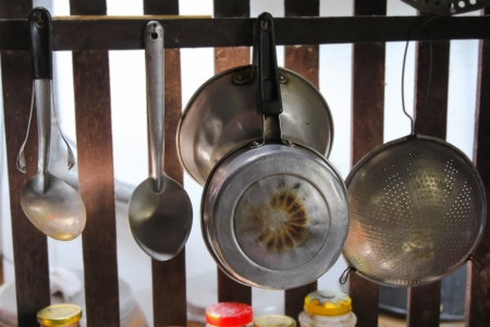 Old Kitchenware in countryside hanging on lath