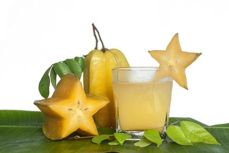 Starfruit and Starfruit juice on white background