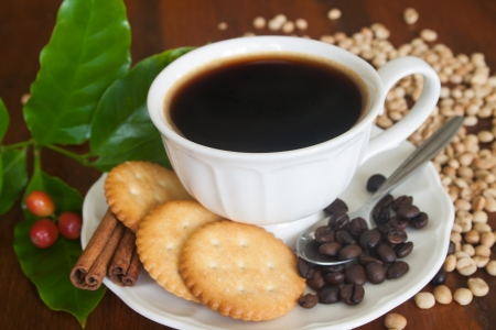 Black Coffee, Black beans, White beans, Ripe coffe beans , coffee leafs,Cinnamon and Cracker on Plate  Stock Photo
