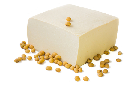 Tofu and soybeans  Stock Photo