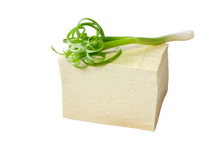 Tofu and fresh Green Onion on white background