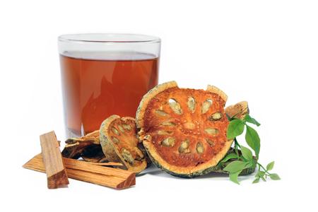 Dried Bael Fruit with Bael and Sappanwood juice, herbal juice.