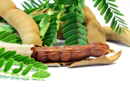 Close up of fresh Tamarind with leaves Stock Photo
