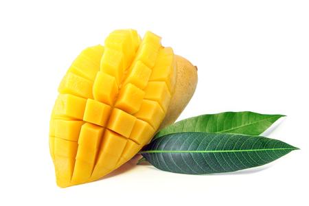 Mango fruit with leaves isolated on white background. Stock Photo