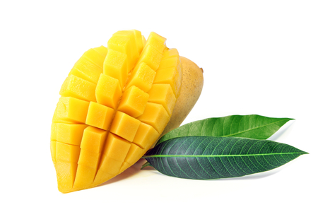 Mango fruit with leaves isolated on white background. Stock Photo