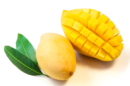 mango fruit: Mango fruit with leaves. Stock Photo