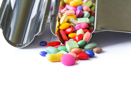 Close up of medical pills on counting tray.