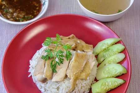 Hainanese chicken rice, one of the national dishes of Singapore.