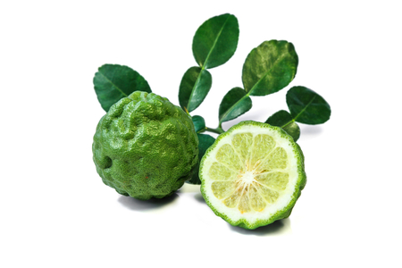 Fresh Kaffir lime and leaf isolated on white background.