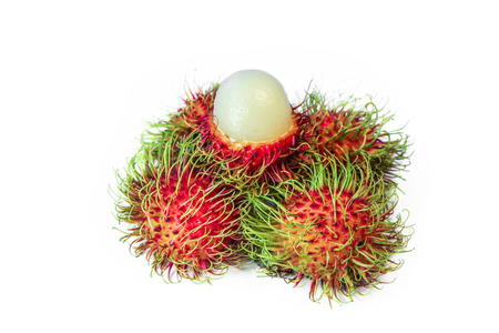 Fresh Rambutan isolated  on white background, sweetl fruit. Stock Photo