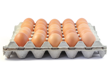 Fresh Chicken eggs in paper tray on white background, Food ingredient.