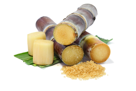 Sugarcane with leaves , pieces of sugarcane and brown sugar on white background.