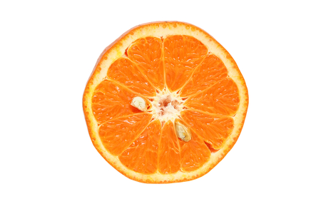 Half of orange fruit isolated on white background, citrus fruit, top view.