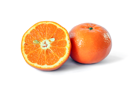 Half of orange fruit  and orange on white background, citrus fruit.