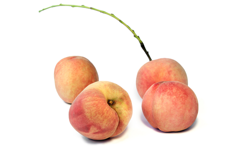 Group of fresh Japanese white peach fruit on white background. Stock Photo