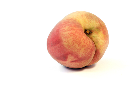Fresh white peach fruit on white background.