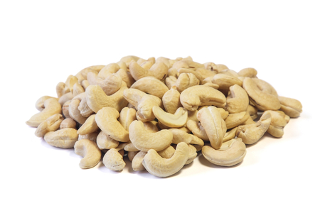 Cashew nuts isolated on white background, Food.