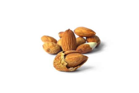 Group of Almond in shell and shelled isolated on white background , vegetarians food.