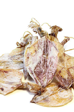 Dried squid islated on white background, seafood.