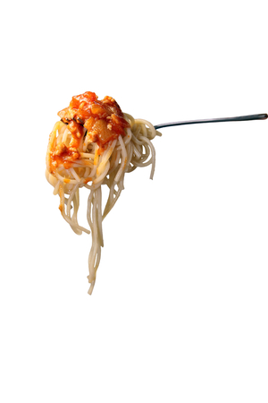 Spaghetti with tomato sauce on a fork isolated on white background.