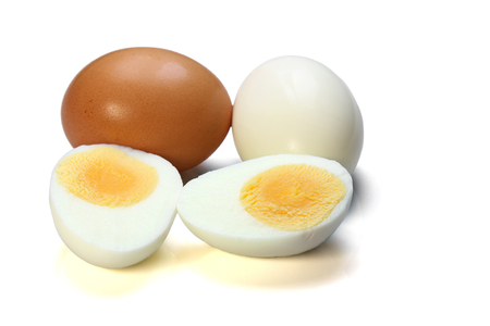 Chicken boiled egg isolated on white background.