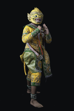 This mask dance drama of Thailand call Khon from the Ramayana story with black isolated background. Stock Photo