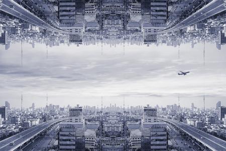 거꾸로, 이상하고 초현실적 인 공상 과학 도시. 스톡 콘텐츠 - 77577389