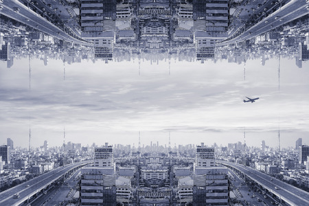 Upside down, strange, surreal, sci-fi city.