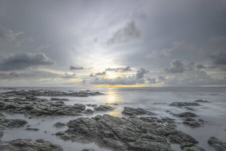Sea view from Lanta island, Krabi province, Thailand at the sunset time, long exposure. Stockfoto - 128618967