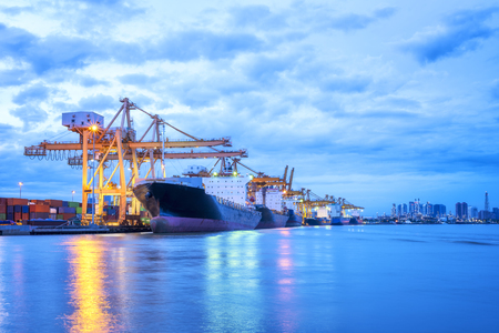Industrial port loading container, Cargo logistic import and export Stock Photo