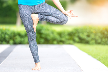 Basic Yoga Healthy Concept, Young Women Practice Play Yoga in the Park, Yoga Poses Step