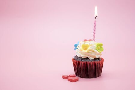 Delicious birthday cupcake with candle on pink background. Space for insert text