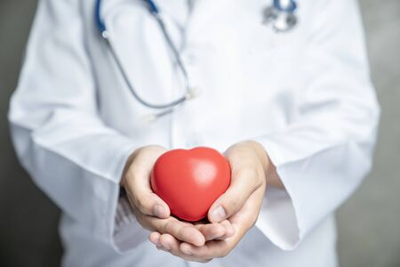 Doctor holding a red heart on hands at hospital ward, Medical health care service concept. Standard-Bild