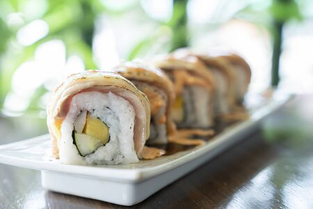 Roll sushi with salmon, Sushi menu. Japanese food.