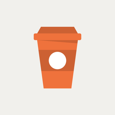coffee mugs: Disposable coffee cup icon, modern minimal flat design style. Takeaway paper coffee cup vector illustration