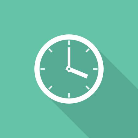 reloj de pared: Icono del reloj, estilo dise�o plano moderno m�nimo. Ver ilustraci�n vectorial con larga sombra, s�mbolo