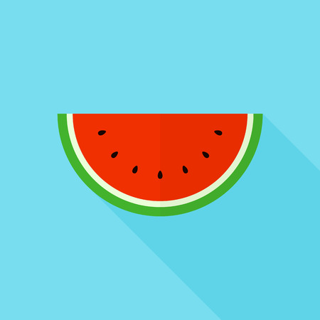 watermelon slice: Watermelon slice icon, modern minimal flat design style, vector illustration with long shadow Illustration