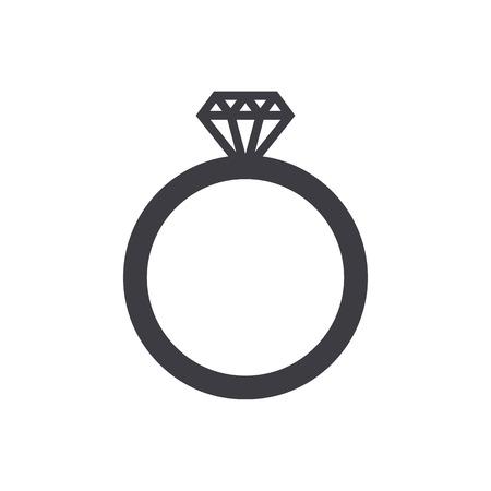 diamond rings: Wedding ring icon, modern minimal flat design style. Diamond ring symbol, jewelry vector sign