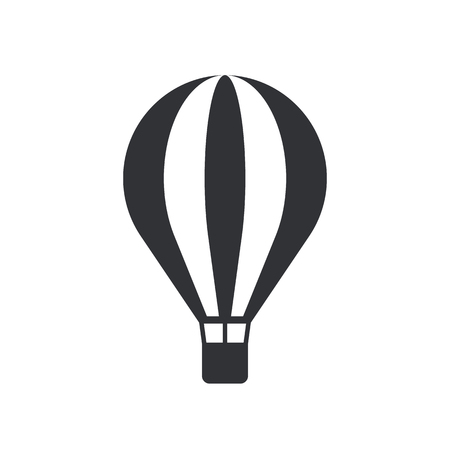 air travel: Hot air balloon icon, modern minimal flat design style, vector illustration