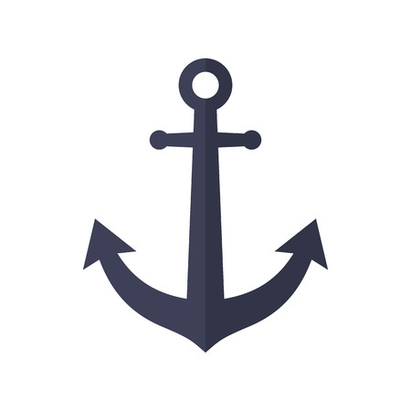 navy ship: Anchor icon, modern minimal flat design style, vector illustration