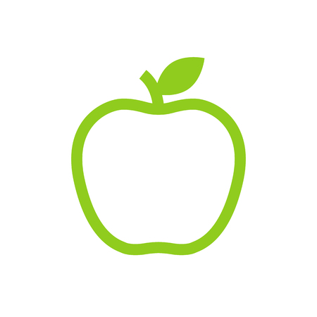 green apple: Apple outline icon, modern minimal flat design style, vector illustration