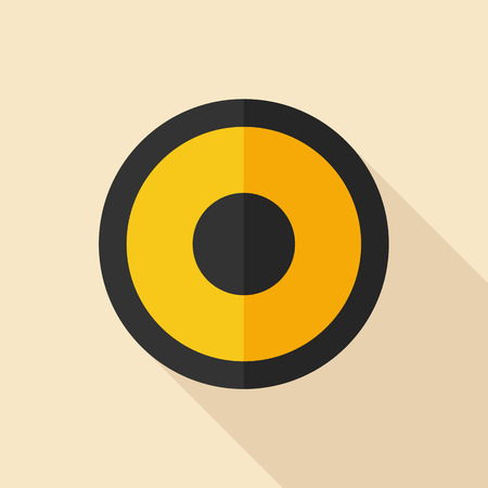 acoustic systems: Audio speaker icon, modern minimal flat design style, vector illustration with long shadow