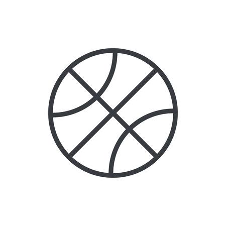バスケット ボール ボールの概要アイコン、モダンなミニマルなフラット デザイン スタイル。ベクトル イラスト、ライン シンボル