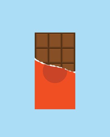 bar of chocolate: Chocolate bar icon, modern minimal flat design style, vector illustration