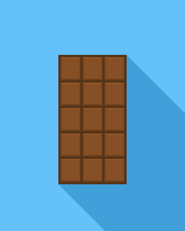dark chocolate: Chocolate bar icon, modern minimal flat design style, vector illustration with long shadow